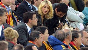 La chanteuse Shakira assistant au match Irlande - Espagne de l'Euro 2012