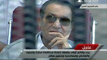 Hosni Moubarak, lors de son deuxième procès au Caire, en Egypte