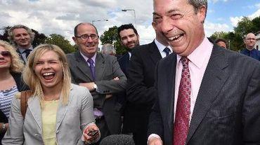 Nigel Farage, dirigeant du parti populiste et europhobe Ukip le 23 mai 2014 à Essex
