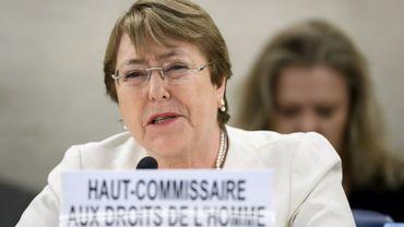 La nouvelle Haut-Commissaire de l'ONU aux droits de l'homme, Michelle Bachelet s'adresse pour la première fois au Conseil des droits de l'homme à Genève, le 10 septembre 2018