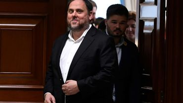Oriol Junqueras dans l'enceinte du Parlement à Madrid, le 20 mai 2019