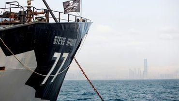 Un bateau de l'ONG Sea Shepherd au large de Hong Kong en avril 2016