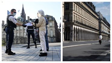 Contrôle à Strasbourg et rue de Rivoli (Paris), presque déserte, ce 9 avril 2020