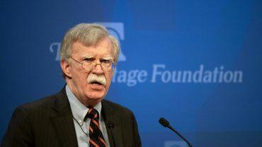 Le conseiller américain à la sécurité nationale John Bolton dévoile la stratégie de Donald Trump pour l'Afrique devant le cercle de réflexion Heritage Foundation à Washington, jeudi 13 décembre.