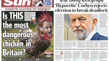 """Défaite de Boris Johnson? Dans la presse anglaise, on parle d'un geste """"hypocrite"""" de la """"poule mouillée"""" Corbyn"""