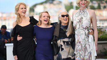 """L'équipe de la saison 2 de """"Top of the lake"""" Nicole Kidman, Elisabeth Moss, la réalisatrice Jane Campion et Gwendoline Christie."""
