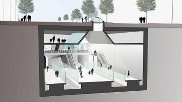 """L'esquisse de la future station de métro """"Constitution"""", sous Stalingrad."""