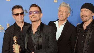 Le groupe U2 lors de la soirée de remise des Golden Globe Awards, en janvier 2014