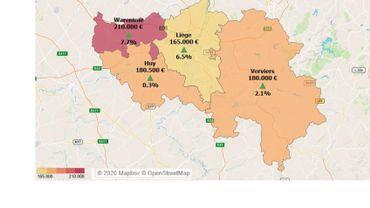 Carte du prix médian des maisons par arrondissements en province de liège