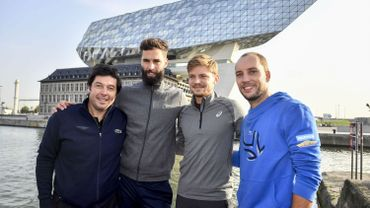 Sébastien Grosjean (co-organisateur du tournoi d'Anvers), Benoît Paire, David Goffin, Steve Darcis