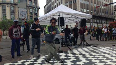 Damier pour démonstrations de Breakdance sur le piétonnier de Bruxelles