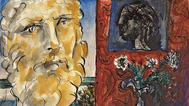"""""""Nature morte à la tête classique et au bouquet de fleurs"""" (1933) de Pablo Picasso."""