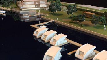 Une maquette des chambres d'hôtel qui pourraient bientôt naviguer sur la Meuse d'ici quelques années