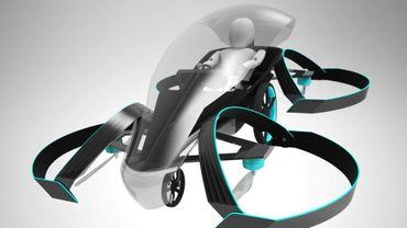"""Infographie de la voiture volante """"SkyDrive"""" dévoilée par Cartivator le 15 mai 2017"""