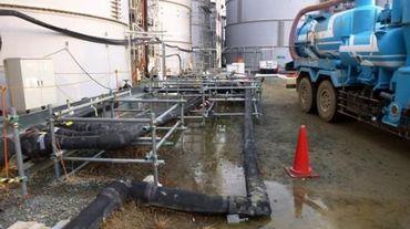 Des eaux contaminées autour d'un réservoir de la centrale de Tepco à Fukushima le 20 février 2014