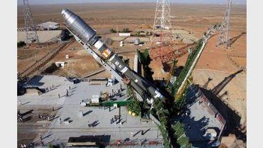 Une fusée Soyouz portant six satellites, le 8 juillet 2011 sur le cosmodrome de Baïkonour, au Kazakhstan