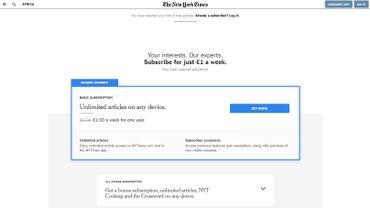 Capture d'écran d'un article payant du site du New York Times.
