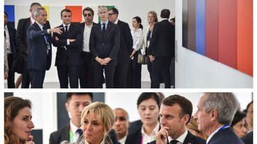 Emmanuel et Brigitte Macron, accompagnés notamment du ministre de la culture, Frank Riester, à Shangai