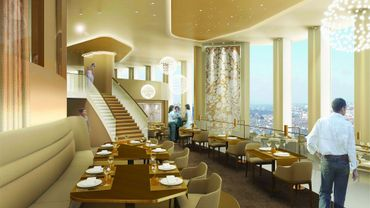 """L'accès à l'hôtel s'effectuera au niveau du 32e étage de la tour, surnommée localement """"le crayon"""" en raison de sa forme cylindrique. ©Radisson Blu"""