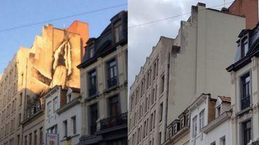 Bruxelles: la fresque polémique de la rue des poissonniers a disparu
