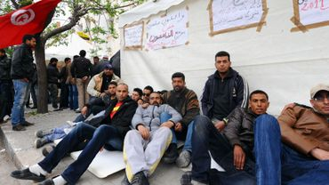 Manifestation de chômeurs (notamment) en Tunisie
