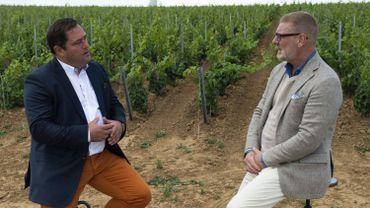 Gerald Watelet et Hubert Ewbank, propriétaire du domaine Chant d'Eole