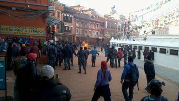 Image prise dans le quartier où s'est déroulée l'immolation du jeune Tibétain