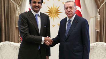 L'émir du Qatar Cheikh Tamim ben Hamad Al-Thani et le président turc Recep Tayyip Erdogan à Ankara, le 15 août 2018