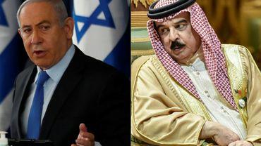 (COMBO) A gauche, le Premier ministre israélien Benjamin Netanyahu à Jésuralem, le roi du Bahreïn Hamad bin Isa Al Khalifa à Riyad en Arabie saoudite, le 10 décembre 2019