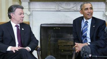 Le président Obama avec son homologue colombien Juan Manuel Santos, lors d'une rencontre à la Maison Blanche, le 4 février 2016