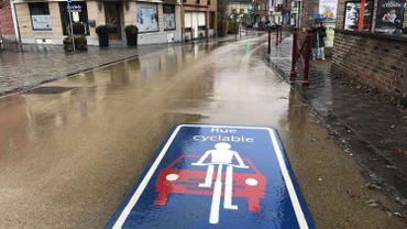 Difficile de ne pas voir la signalisation: dans une rue cyclable, on ne peut pas dépasser les vélos.