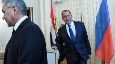 Le ministre russe de la Défense Sergueï Choïgou et le ministre des Affaires étrangères Sergue¨£i Lavrov à Moscou, le 14 mai 2018