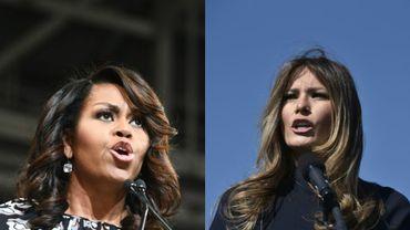 Michelle Obama, à Winston-Salem (Caroline du Nord), le 27 octobre 2016; et Melania Trump, Wilmington (Caroline du Nord), le 5 novembre 2016.