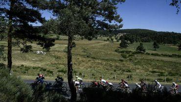 Le peloton du Tour de France lors de la 15e étape entre Laissac-Severac l'Eglise et Le Puy-en-Velay, le 16 juillet 2017
