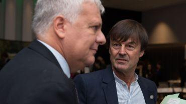 Le ministre français de l'environnement Nicolas Hulot et son homologue italien Gian Luca Galletti lors de ce sommet.