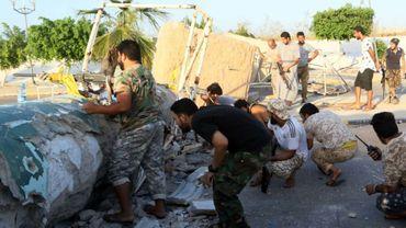 Des membres des forces pro-gouvernementales libyennes à Syrte, le 13 août 2016