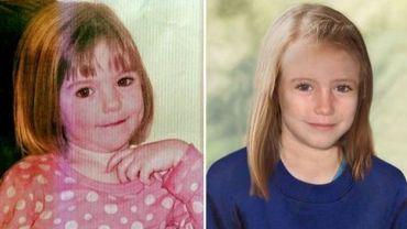 Une combinaison d'images diffusée le 25 avril 2012 montre la petite Maddie à l'âge de trois ans (G), et une photo générée par ordinateur montrant la figure que pourrait avoir l'enfant à 9 ans