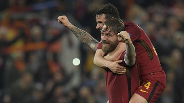 Daniele De Rossi, célébrant la qualification face au FC Barcelone.