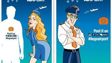 Voici les deux dessins que les passagers qui décollent ou atterrissent depuis Liège Airport découvrent dans le terminal.