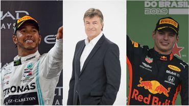 Lewis Hamilton, Gaëtan Vigneron et Max Verstappen