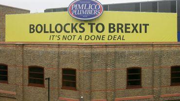"""Un large panneau jaune """"Merde au Brexit"""" sur le toit de la société de plomberie Pimlico Plumber, le 4 octobre 2018 à Londres"""
