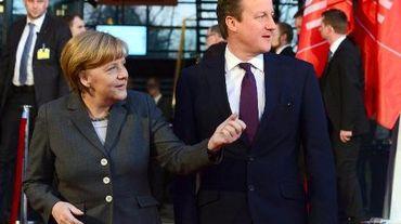 La chancelière allemande Angela Merkel et le Premier ministre britannique David Cameron au CeBIT de Hanovre le 9 mars 2014