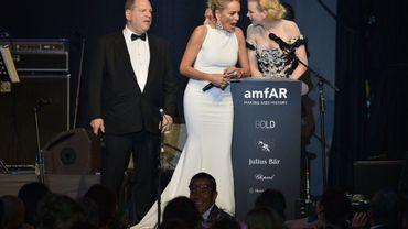 Harvey Weinstein, Sharon Stone et Nicole Kidman lors du gala de la fondation amfAR contre le sida