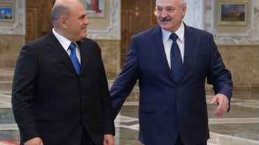 Le premier ministre russe, Mikhail Mishustin et le président Biélorusse, Alexander Loukachenko, lors d'une rencontre officielle à Minsk, le 3 septembre 2020.