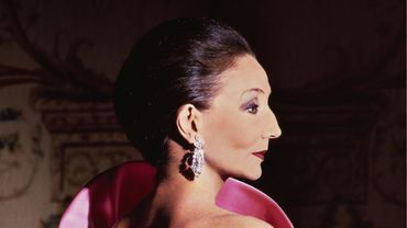 Jacqueline de Ribes dans une de ses créations, 1983