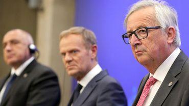 Le président de la Commission européenne Jean Claude Juncker donne une conférence de presse au sommet UE-Balkans à Sofia, le 17 mai 2018