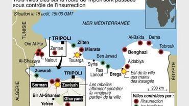 Carte des combats le 15 août 2011 en Libye