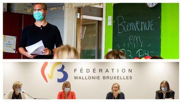 Rentrée des classes dans une école de St Gilles (Bruxelles) ce 1er septembre et point presse de la FWB le 27 août 2020
