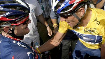 Floyd Landis avec Lance Armstrong au TDF 2004