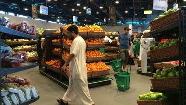 Étals de fruits et légumes d'un supermarché Al-Meera à Doha au Qatar, le 10 juin 2017